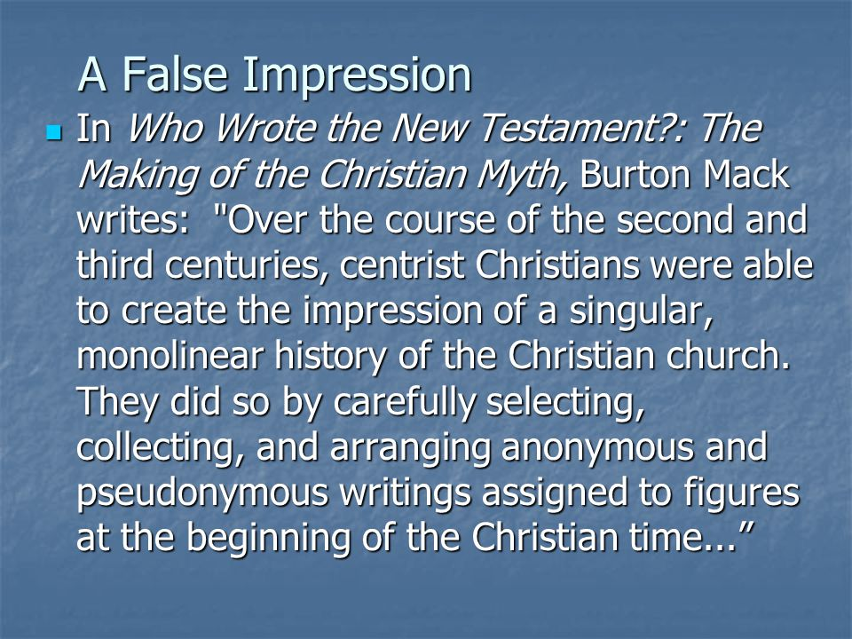 A False Impression