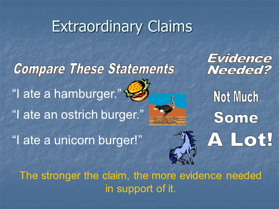 Extraordinary Claims Evidence Compare These Statements Needed