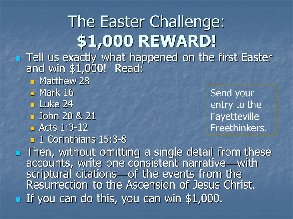 The Easter Challenge: $1,000 REWARD!