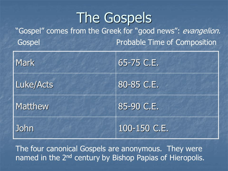 The Gospels Mark 65-75 C.E. Luke/Acts 80-85 C.E. Matthew 85-90 C.E.