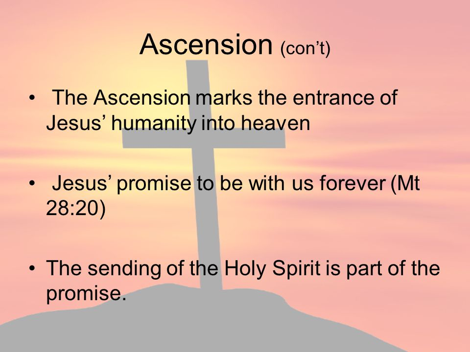 Ascension (con't) The Ascension marks the entrance of Jesus' humanity into heaven. Jesus' promise to be with us forever (Mt 28:20)