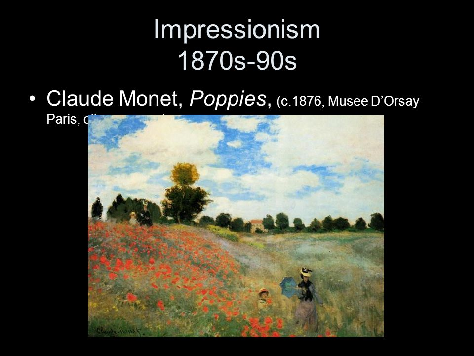 Impressionism 1870s-90s Claude Monet, Poppies, (c.1876, Musee D'Orsay Paris, oil on canvas)