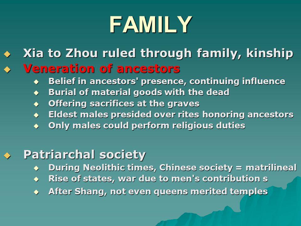 FAMILY Xia to Zhou ruled through family, kinship