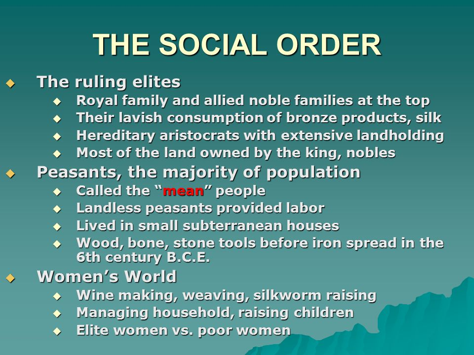 THE SOCIAL ORDER The ruling elites