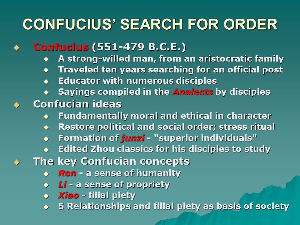 CONFUCIUS' SEARCH FOR ORDER