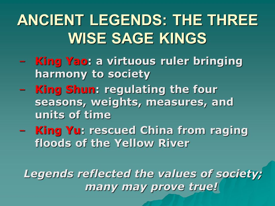 ANCIENT LEGENDS: THE THREE WISE SAGE KINGS