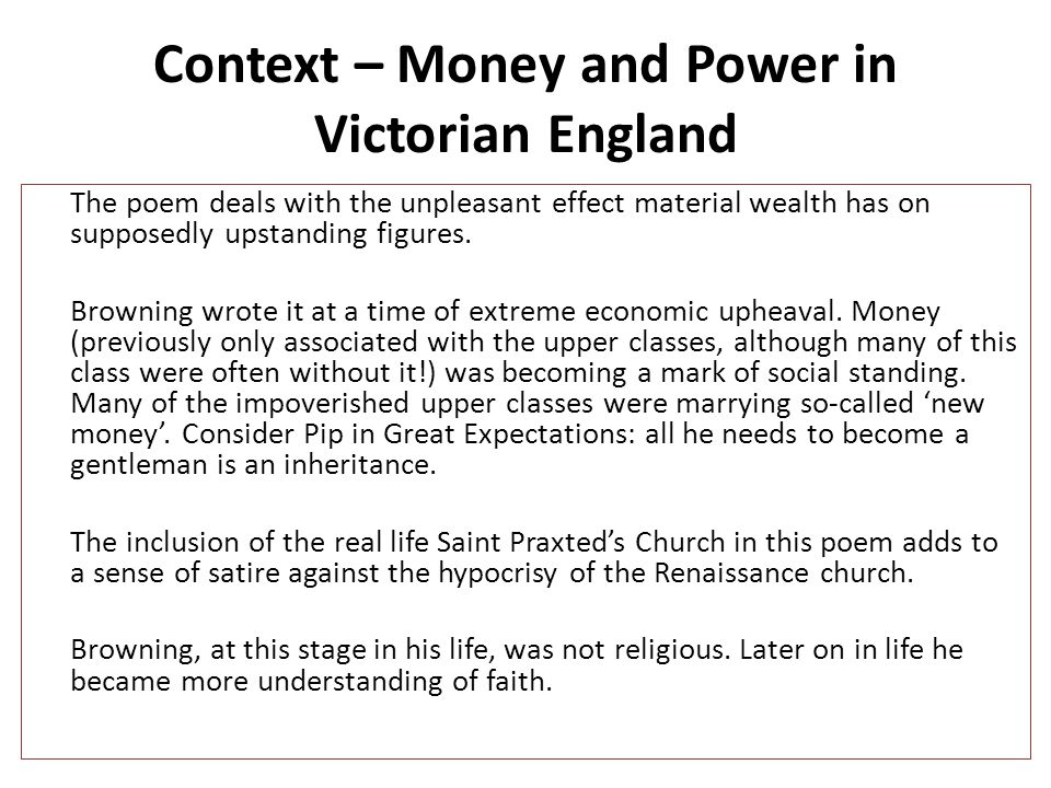 Context – Money and Power in Victorian England