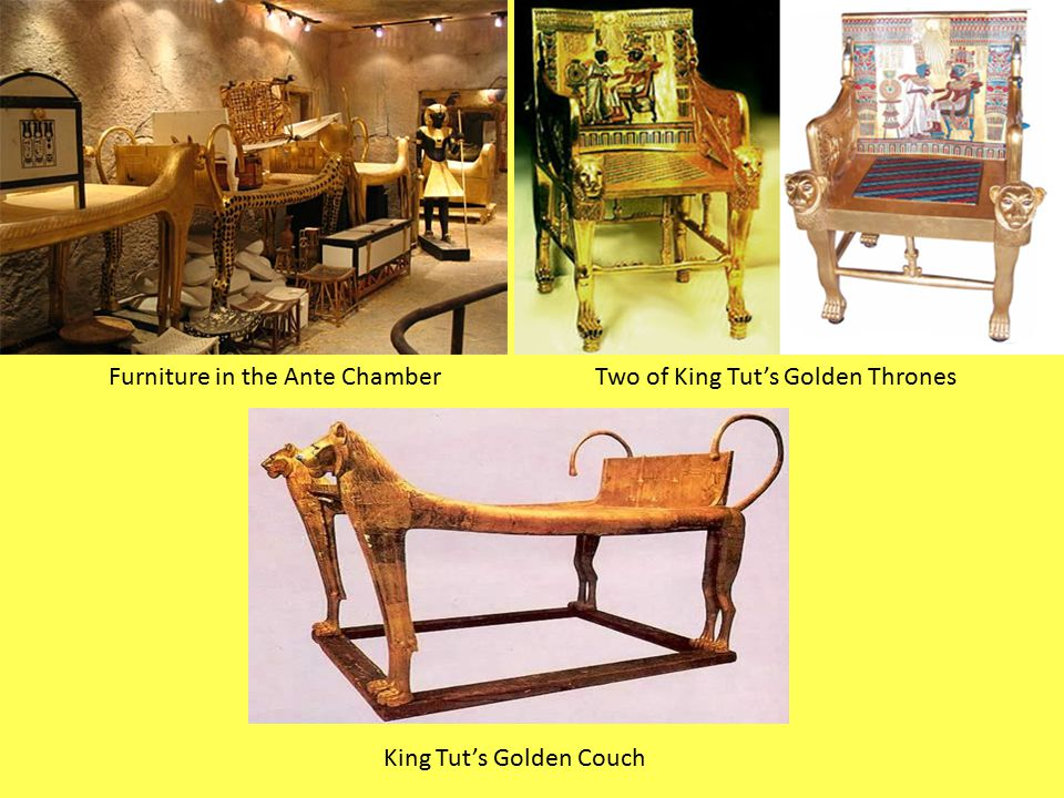 Furniture in the Ante Chamber Two of King Tut's Golden Thrones