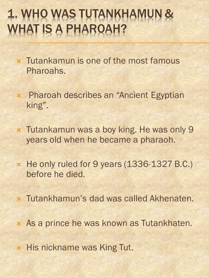 1. Who was Tutankhamun & what is a pharoah