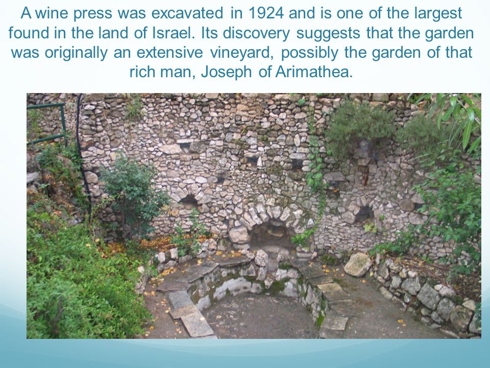 A wine press was excavated in 1924 and is one of the largest found in the land of Israel.