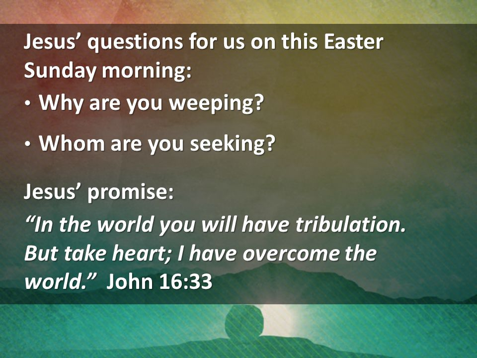 Jesus' questions for us on this Easter Sunday morning: