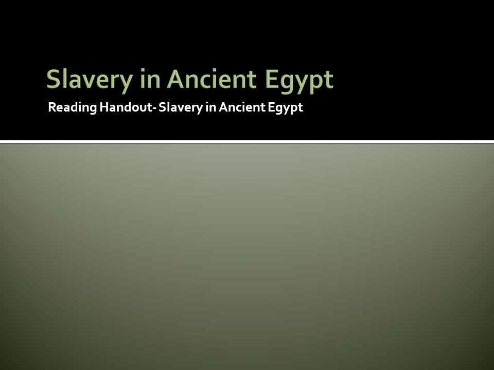 Slavery in Ancient Egypt