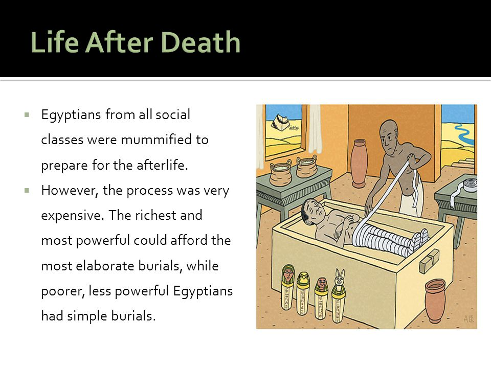 Life After Death Egyptians from all social classes were mummified to prepare for the afterlife.