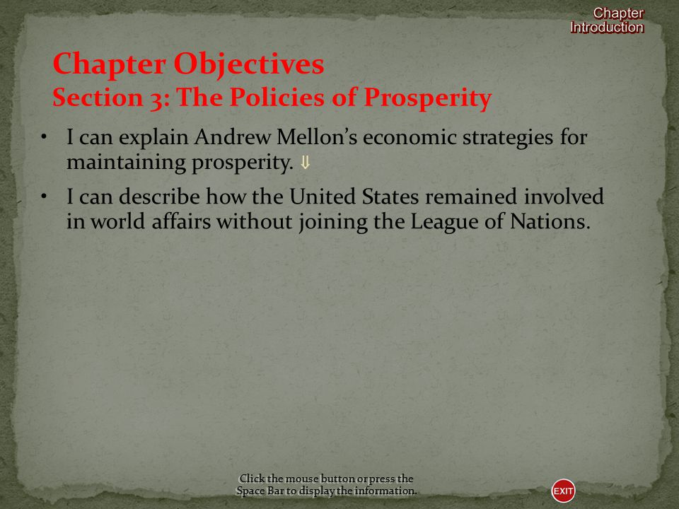 Chapter Objectives Section 3: The Policies of Prosperity