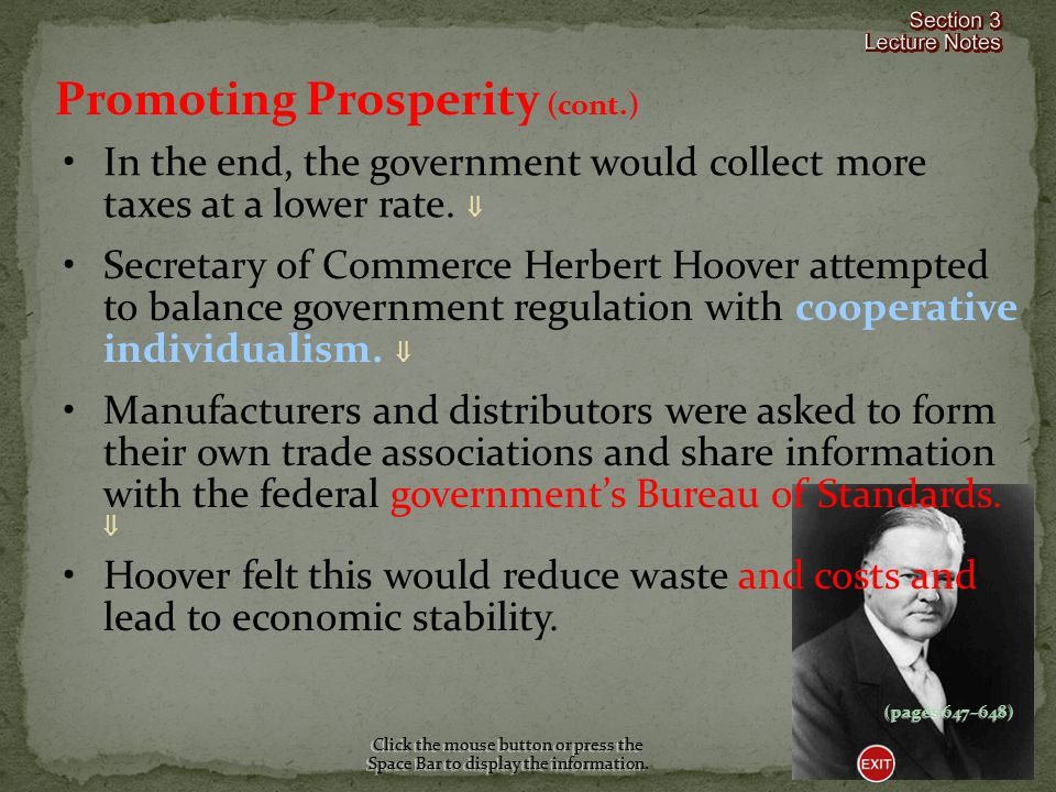 Promoting Prosperity (cont.)
