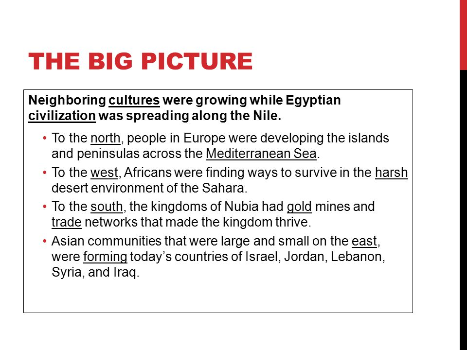 The Big Picture Neighboring cultures were growing while Egyptian civilization was spreading along the Nile.