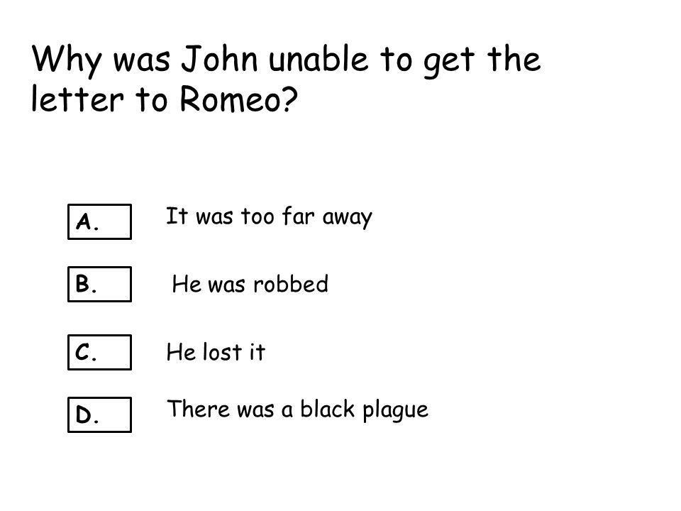 Why was John unable to get the letter to Romeo