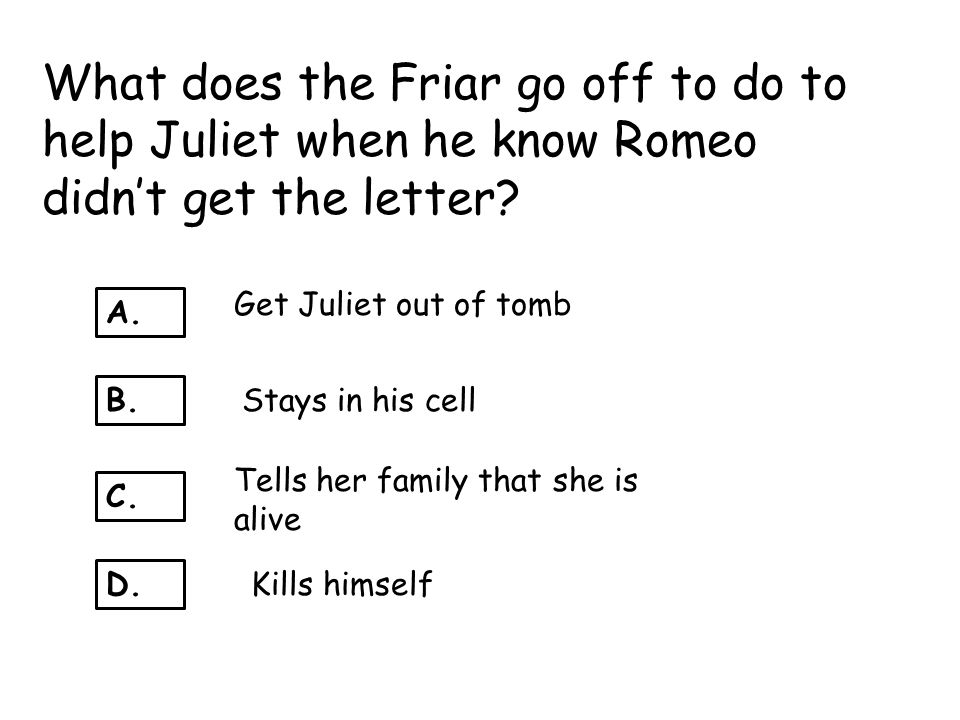 What does the Friar go off to do to help Juliet when he know Romeo didn't get the letter