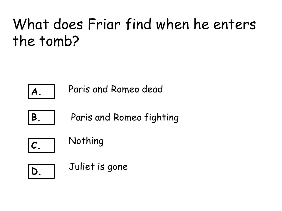 What does Friar find when he enters the tomb