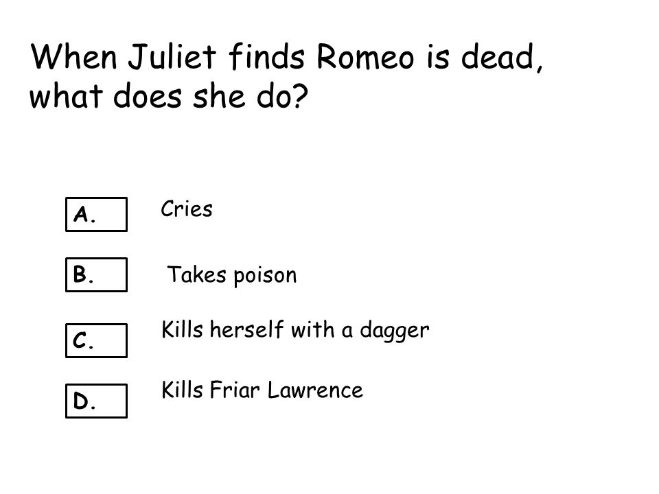 When Juliet finds Romeo is dead, what does she do