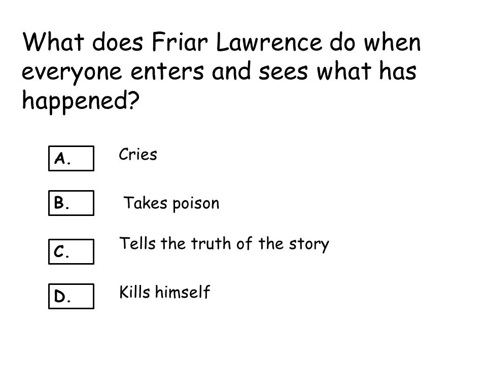 What does Friar Lawrence do when everyone enters and sees what has happened