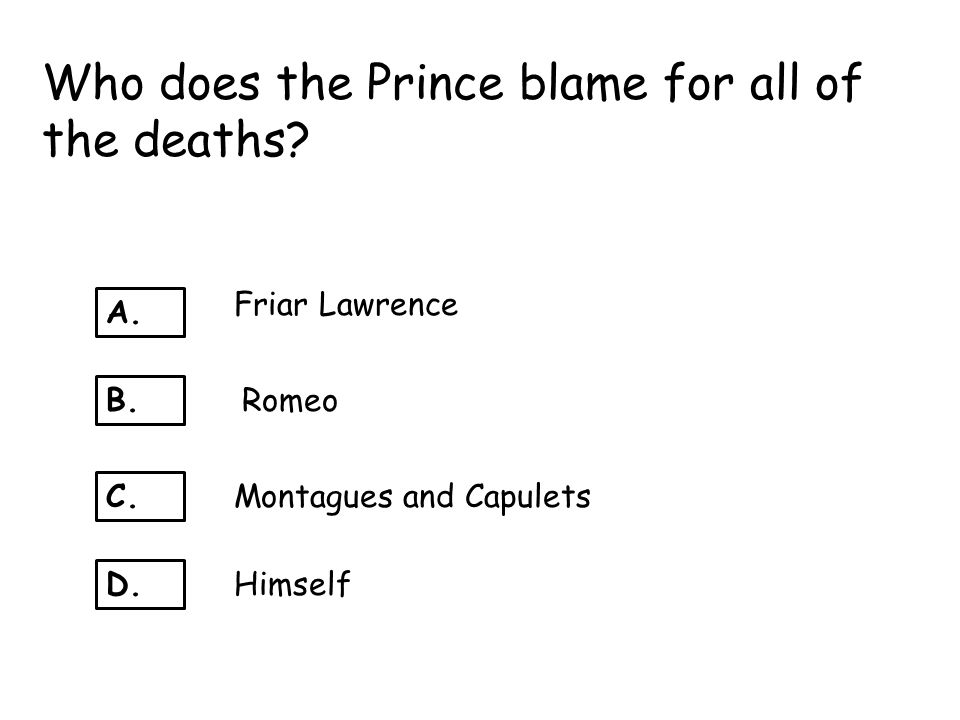 Who does the Prince blame for all of the deaths
