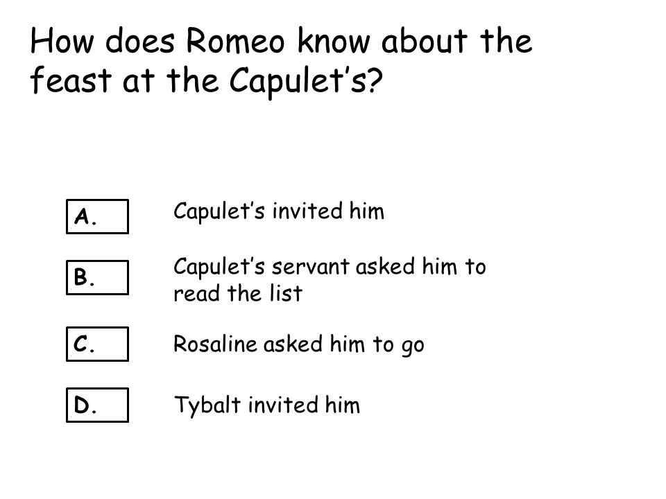 How does Romeo know about the feast at the Capulet's