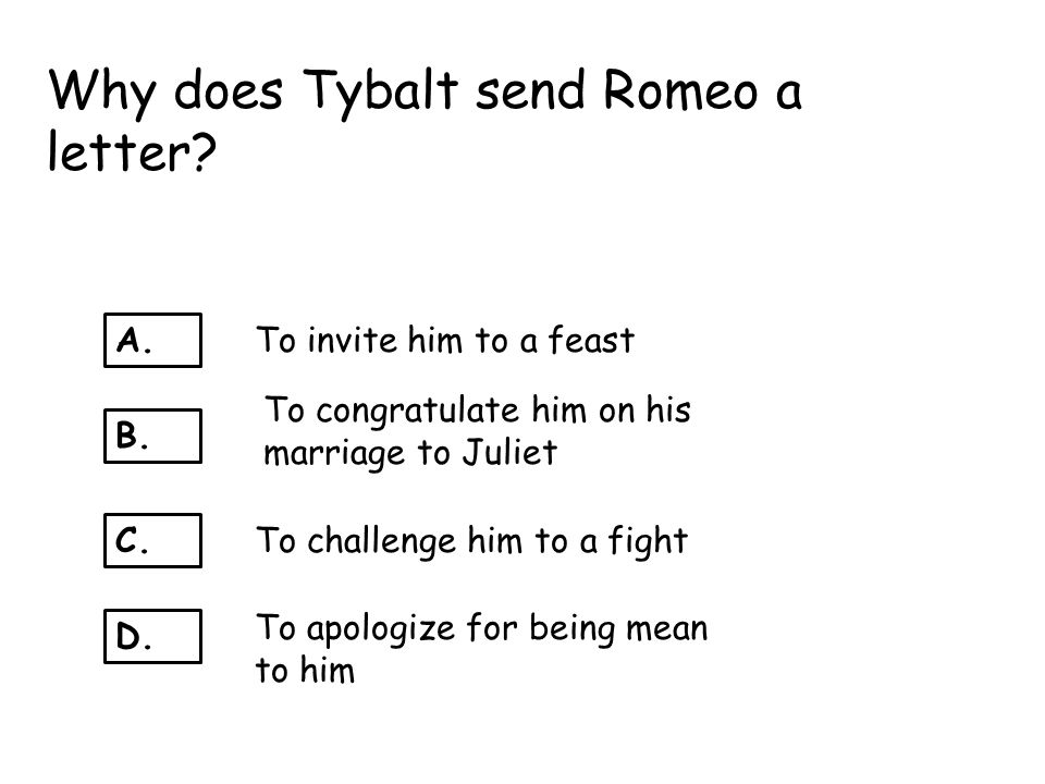 Why does Tybalt send Romeo a letter
