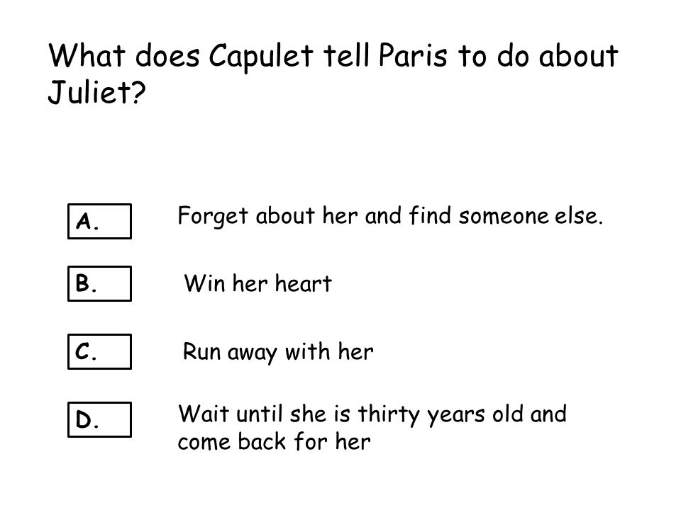 What does Capulet tell Paris to do about Juliet