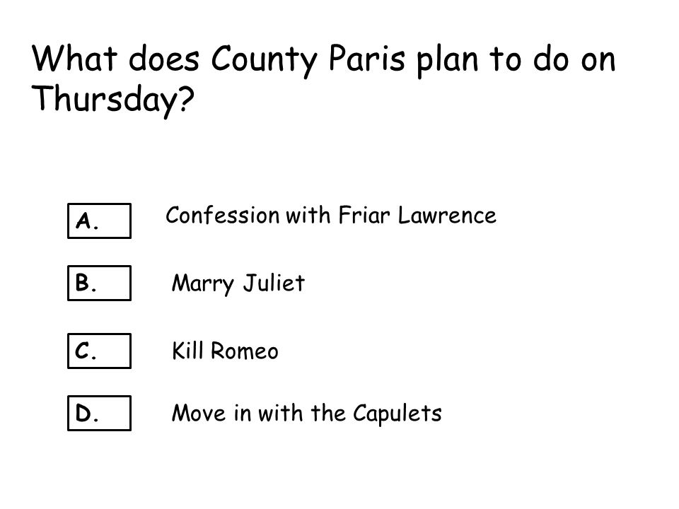 What does County Paris plan to do on Thursday