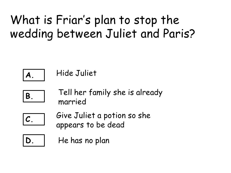 What is Friar's plan to stop the wedding between Juliet and Paris