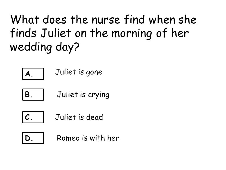 What does the nurse find when she finds Juliet on the morning of her wedding day