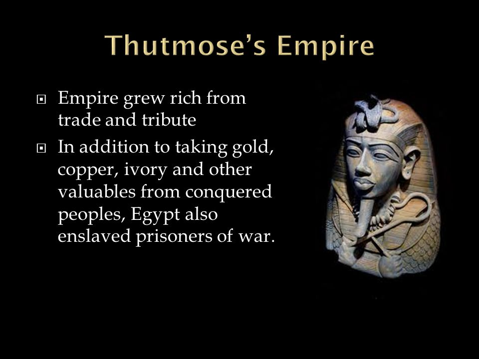 Thutmose's Empire Empire grew rich from trade and tribute