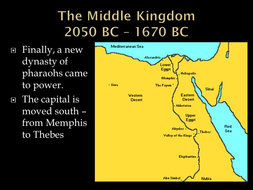 The Middle Kingdom 2050 BC – 1670 BC