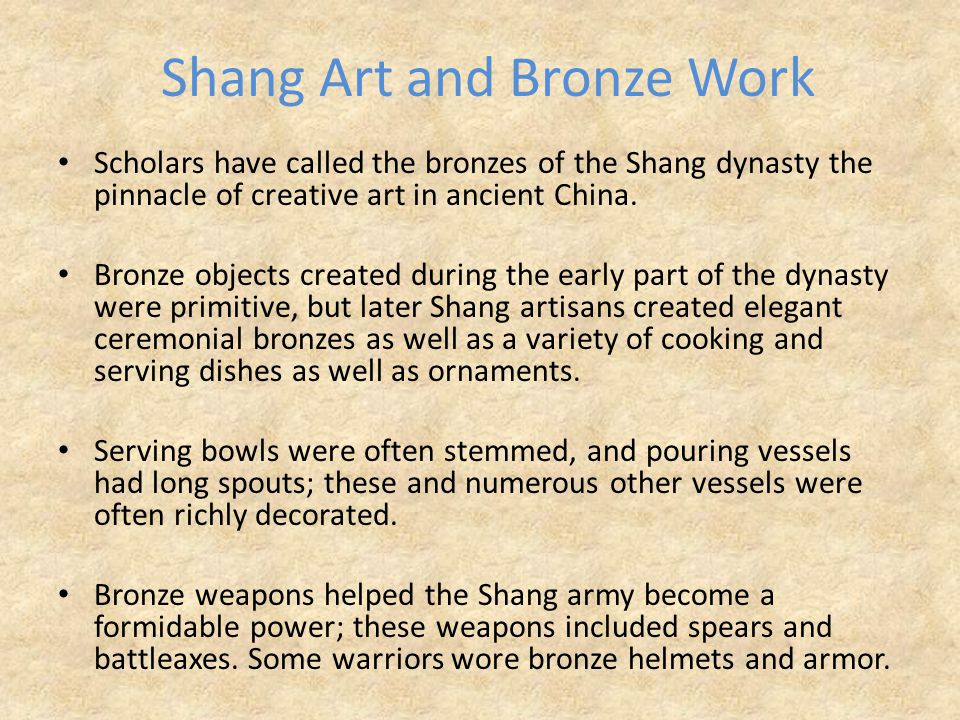 Shang Art and Bronze Work