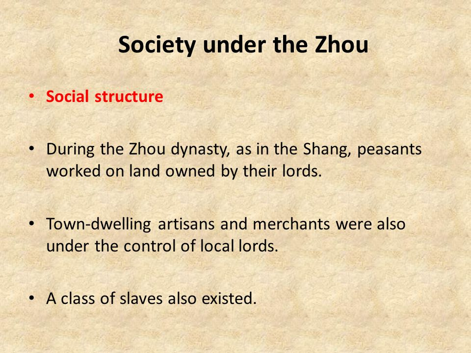 Society under the Zhou Social structure