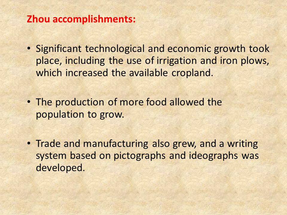 Zhou accomplishments: