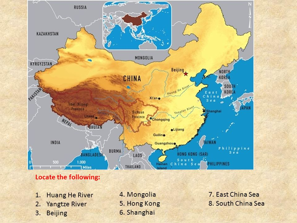 Locate the following: Huang He River. Yangtze River. Beijing. 4. Mongolia 7. East China Sea. 5. Hong Kong 8. South China Sea.