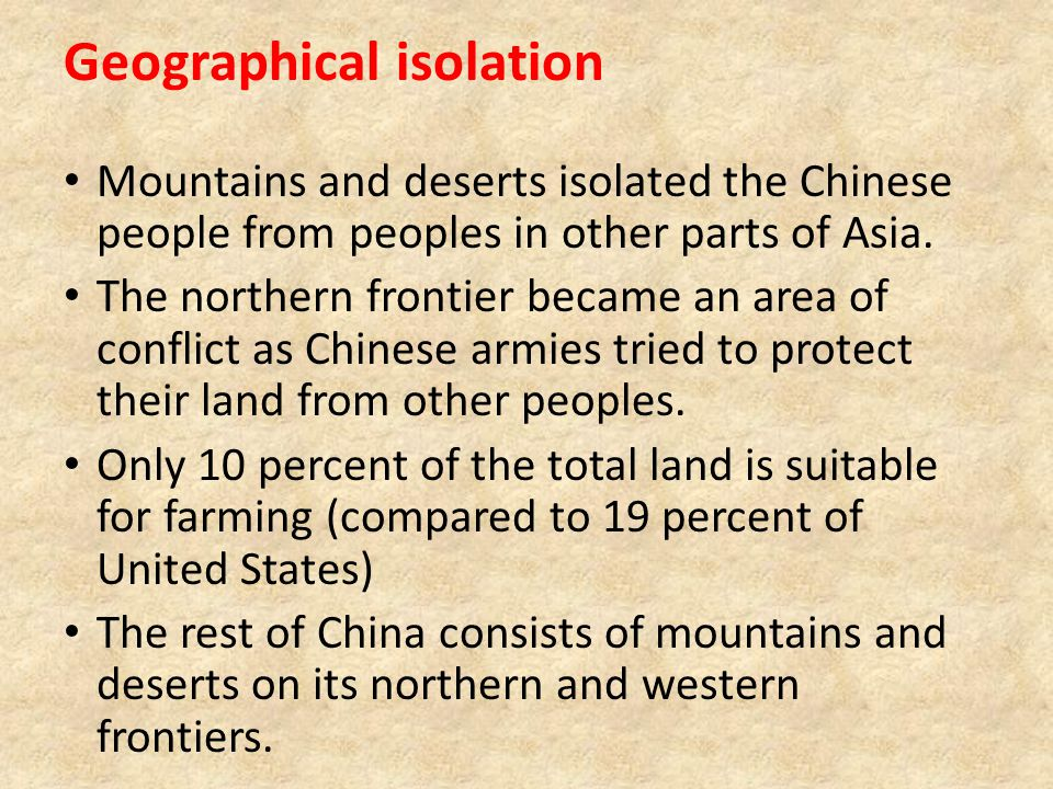 Geographical isolation