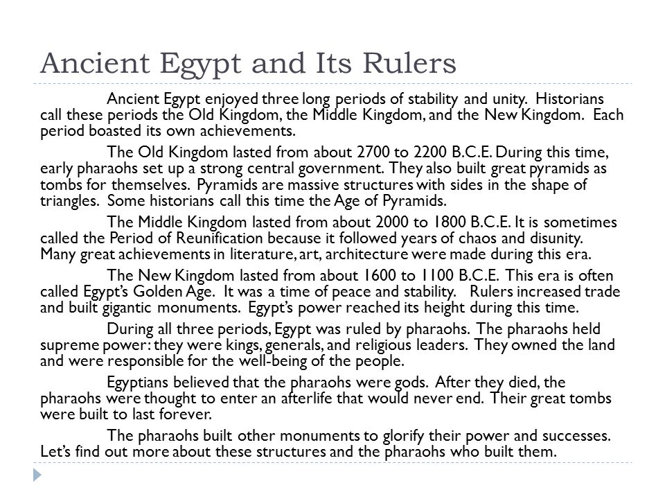 Ancient Egypt and Its Rulers