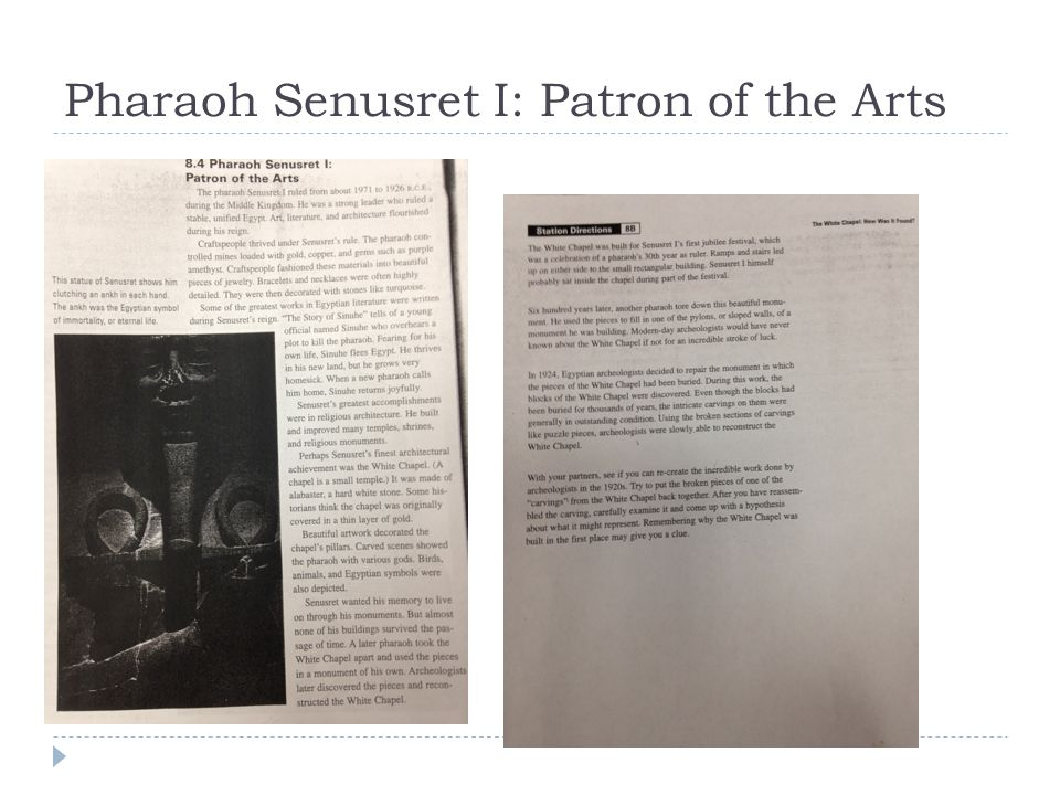 Pharaoh Senusret I: Patron of the Arts