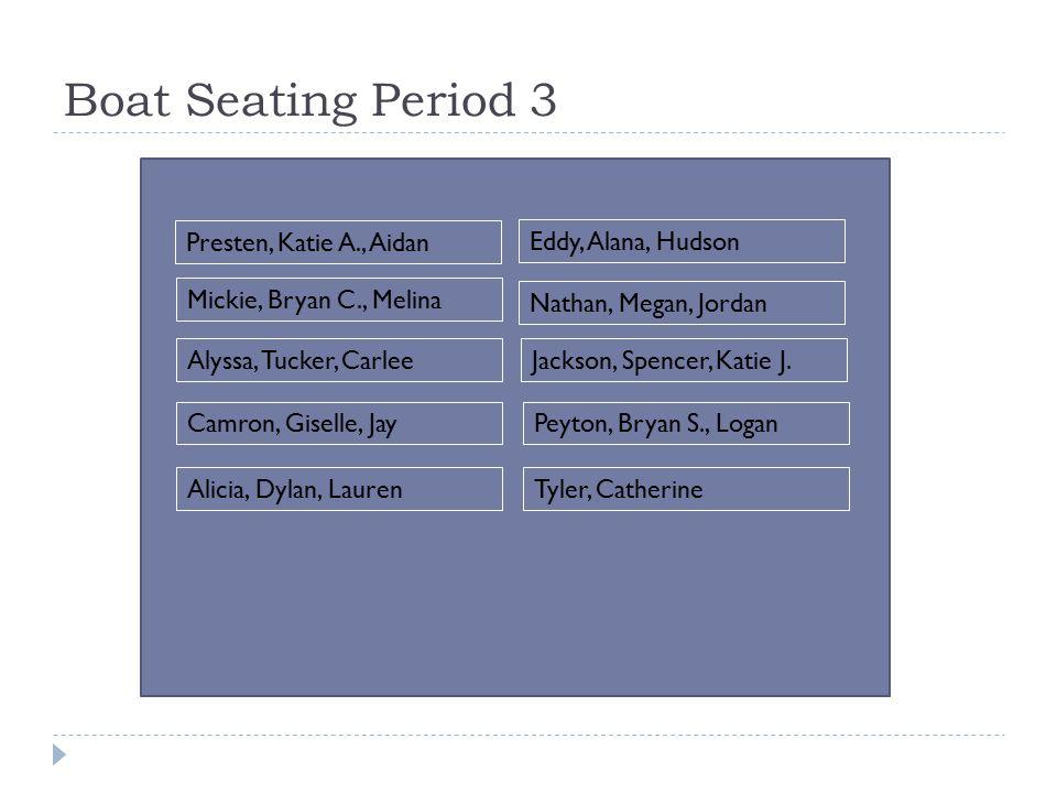 Boat Seating Period 3 Presten, Katie A., Aidan Eddy, Alana, Hudson