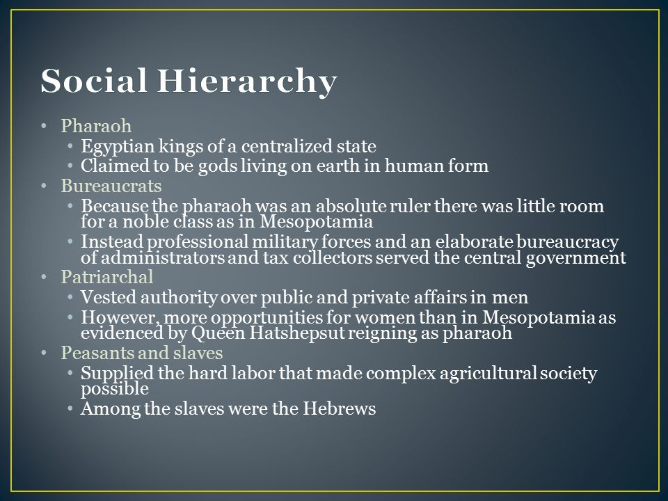 Social Hierarchy Pharaoh Egyptian kings of a centralized state