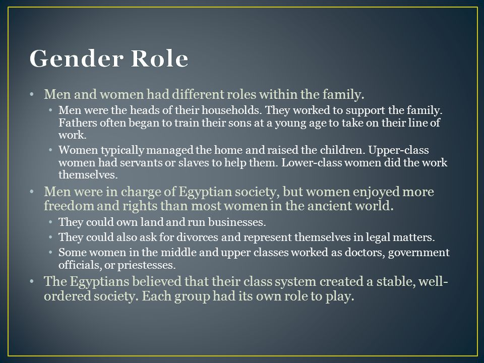 Gender Role Men and women had different roles within the family.