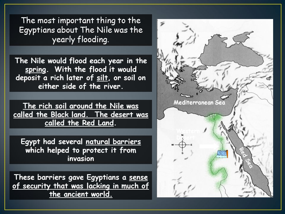 The most important thing to the Egyptians about The Nile was the yearly flooding.