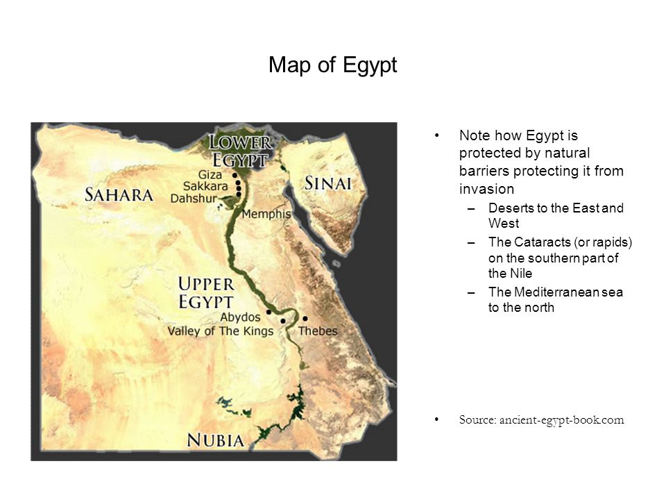 Map of Egypt Note how Egypt is protected by natural barriers protecting it from invasion. Deserts to the East and West.