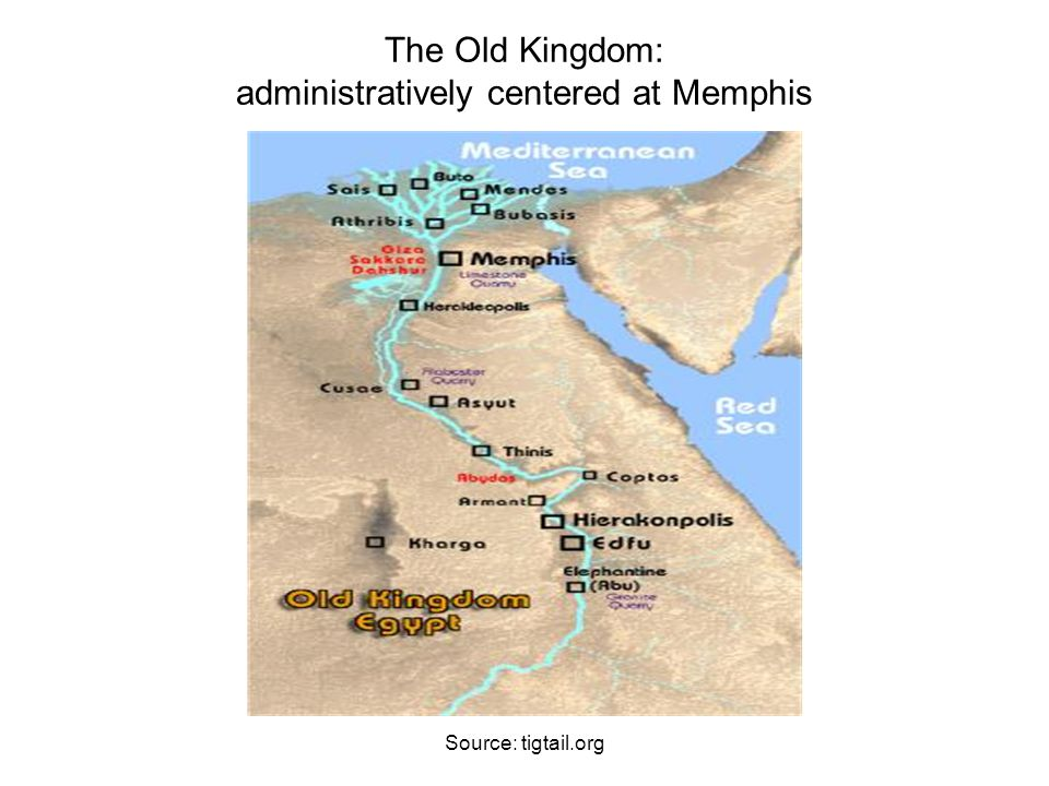 The Old Kingdom: administratively centered at Memphis