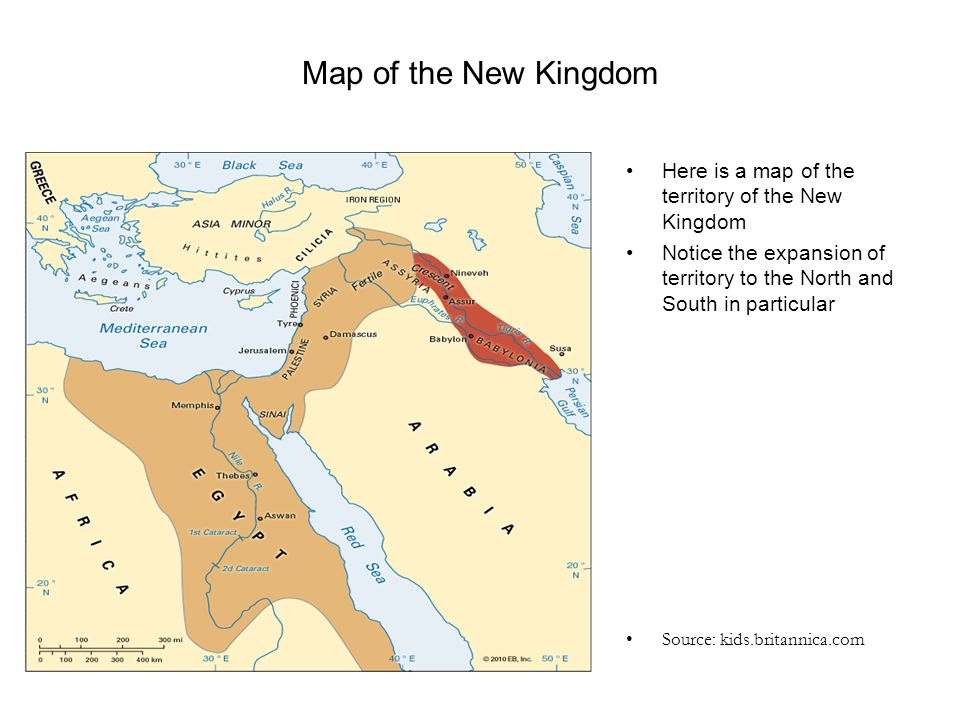 Map of the New Kingdom Here is a map of the territory of the New Kingdom. Notice the expansion of territory to the North and South in particular.