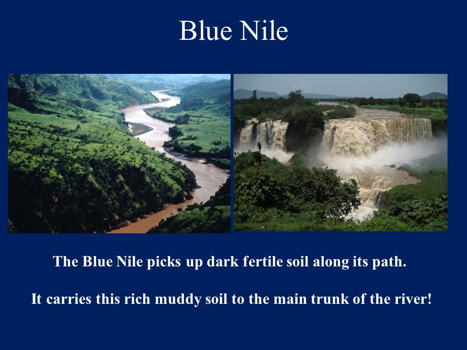 Blue Nile The Blue Nile picks up dark fertile soil along its path.