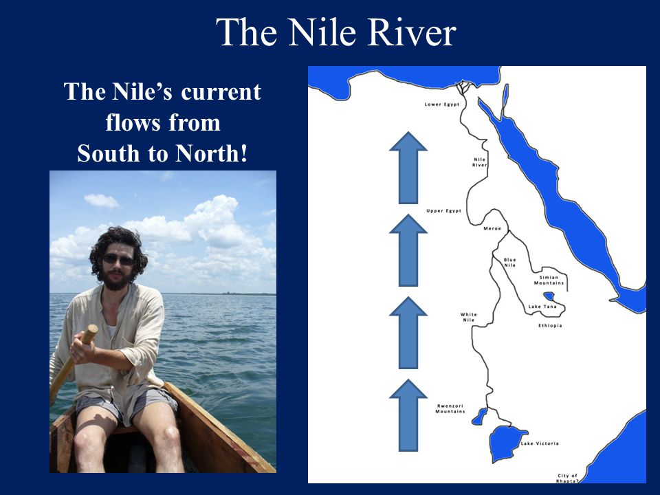 The Nile's current flows from